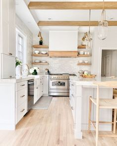 White and Wood Kitchen Remodel Reveal Kitchen Cabinet Design, Modern Kitchen Design, Kitchen Interior, Contemporary Kitchen Renovation, Small House Renovation, Modern Small House Design, Renovation Budget, Kitchen Cabinets, Home Decor Kitchen