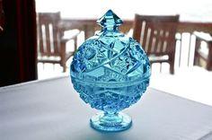 Vintage Fenton Hobnail Blue Globe Covered Dish