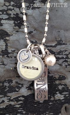 grandma of HAPPINESS and LOVE one cluster  necklace.