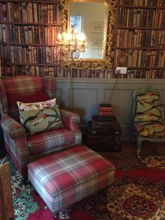 New sherlock next wing back chair and footstool laura for Fancy wallpaper for living room