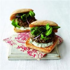 These easy-to-make lamb burgers are made with a shop-bought pesto – adding lots of flavour to a speedy summer barbecue. Lamb Burger Recipes, Lamb Recipes, Romantic Meals, Romantic Recipes, Lamb Burgers, Mini Burgers, Easy Canapes, Green Pesto, Slow Cooked Pork