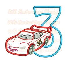 Red Car  rd Birthday Set Embroidery Applique