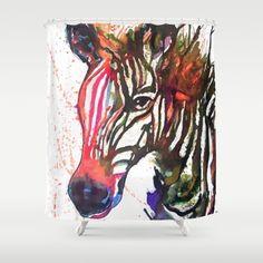 Zebra Shower Curtain Jungle Shower Curtain by StudioEmmaKaufmann