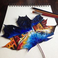 A turned these fallen leaves into incredible works of art. Alternative Art, Autumn Painting, Painted Leaves, Autumn Leaves, Fallen Leaves, Leaf Art, Acrylic Art, Art And Architecture, Amazing Art