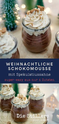 Chocolate mousse with speculum cream - made from just 6 ingredients - Die Stillers - food verleibt,Schokomousse mit Spekulatiussahne - ganz einfach aus nur 6 Zutaten This dessert not only looks delicious, it is too! And you can easily make it from j. Winter Desserts, Mini Desserts, Christmas Desserts, Cupcake Recipes, Snack Recipes, Dessert Recipes, Snacks, Pin On, Food Cakes