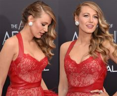 "Blake Lively in one side braid & loose hair curls on the other side hairstyle at ""the age of adaline"" Premiere 2015."
