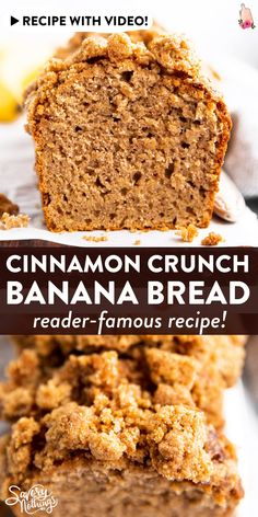 whole wheat cinnamon crunch banana bread is SO good! Made with whole wheat flour, healthy Greek yogurt, mashed banana, eggs and oil. The cinnamon streusel crunch topping is SO good. Great for a special breakfast treat that's still a little healthier. Cinnamon Banana Bread, Flours Banana Bread, Cinnamon Crunch, Easy Banana Bread, Cookie Recipes, Dessert Recipes, Famous Recipe, Banana Bread Recipes, Holiday Baking