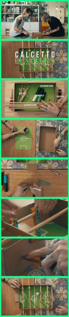 Semplicissimo e divertentissimo gioco fai da te!! Ecco come creare un calcetto in una scatola con pochissimo materiale :)