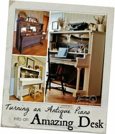 Turn an Antique Piano into an AMAZING DESK! It isn't expensive or difficult! ~~~Visit KnickofTimeInteriors.blogspot.com to see all the details!