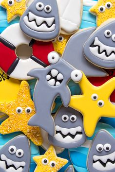 Hammerhead Shark Cookies- It doesn't have to be Shark Week for you to enjoy a good hammerhead shark treat. Sugar Cookies Decorated with Royal Icing.