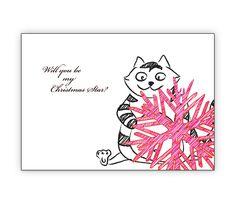 Lustige Weihnachtskarte mit Katze: Will you be my Christmas Star? - http://www.1agrusskarten.de/shop/lustige-weihnachtskarte-mit-einer-katze-und-grosem-weihnachtsstern-will-you-be-my-christmas-star/    00000_1_2431, Grusskarte, Klappkarte Rentier, Santa Sterne, Schneemann, Tanne, Weihnachtsbaum Engel, Weihnachtsmann, Winter00000_1_2431, Grusskarte, Klappkarte Rentier, Santa Sterne, Schneemann, Tanne, Weihnachtsbaum Engel, Weihnachtsmann, Winter