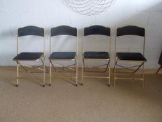 vintage a fritz co folding chairs gold velvet upholstered steel