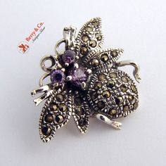 Vintage Sterling Silver Amethyst and Marcasite Bee Brooch or Pendant