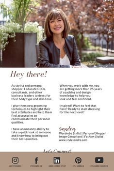 IT'S TIME TO SEEK EXPERT, PROFESSIONAL HELP with an personal stylist & Montreal personal shopper StyleSandra - we got you covered. Fashion 101, Personal Stylist, How To Feel Beautiful, Business Design, Fashion Stylist, Body Types, Cool Style, Stylists, Knowledge