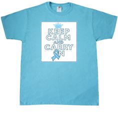 Prostate Cancer Keep Calm and Carry On T-Shirt - Scuba Blue | Hope Dreams Cancer Awareness Ribbon Shirts and Gifts