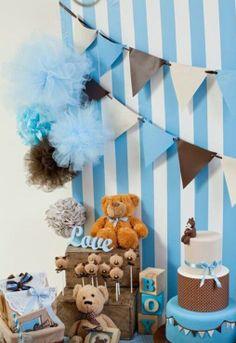 Blue + Brown Teddie Bear party