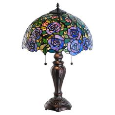 Meyda 24-inch Tiffany-style Rosebush Table Lamp, Purple (Metal)