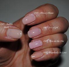Сравнительные свотчи молочно-розовых нюдов OPI - nail_ru