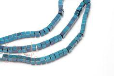 Metallic Electric Blue Plated Hematite cube Beads 4mm