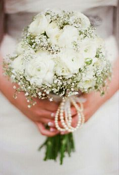 Pretty & Petite Bridal Bouquet Featuring: White Ranunculus + White Gypsophila (Baby's Breath), Pearls