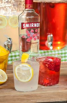 At your next BBQ, mix up two easy punches that everyone will enjoy.     Ingredients: 1.5 Cups Smirnoff Raspberry WITH 3 Cups Lemonade, Muddled Raspberry OR 3 Cups Iced Tea, Fresh Squeezed Lemon, serves 8.