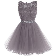 Tideclothes Short Beaded Prom Dress Tulle Applique Evening Dress (110 CAD) ❤ liked on Polyvore featuring dresses, short purple dresses, tulle prom dresses, purple cocktail dress, short beaded cocktail dresses and short dresses