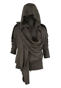OMGWANT! Wantwantwantwant! Combo high neck cardi WITH hood WITH draping at front that can be worn many ways. LOVE the grey, LOVE the scrunched up sleeves. I want this, want to wear it EVERY day.