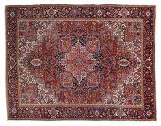 HERIZ / IRAN  Item Number:20756 Width: 10 ft. 0 in. Length: 13 ft. 0 in. Field: GEOMETRIC Field Color: RED Border Color: BLACK www.togarrugs.com (828)-687-1968