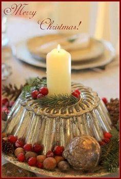 Christmas candle, vintage cake tin centerpiece