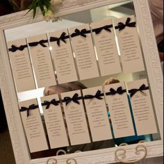 I really like the idea of seating plan... where the names are written on individual cards. I might even buy a framed mirror. What is the measurements for the easel?
