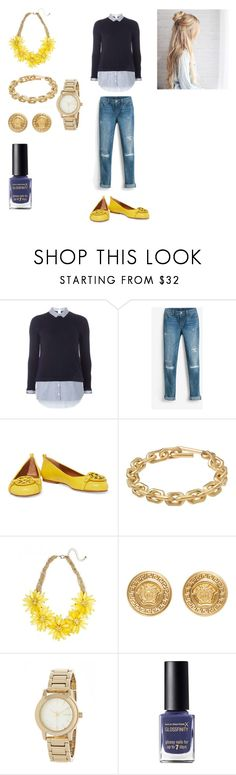 """""""career outfit"""" by efreezy on Polyvore featuring Dorothy Perkins, White House Black Market, Tory Burch, Calvin Klein, Versace, DKNY and Max Factor"""