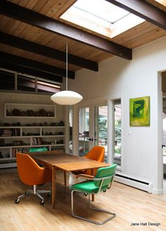Contemporary Style dining room in bright colors