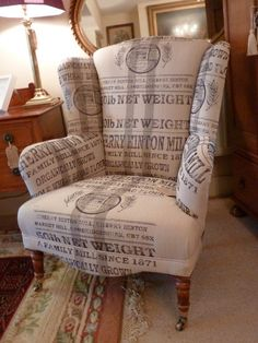 Antique Wingback Armchair -Newly Upholstered