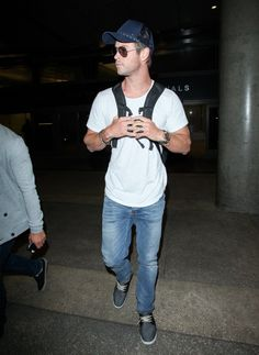 Pin for Later: Only Chris Hemsworth Can Make a Plain White T-Shirt Look This Good
