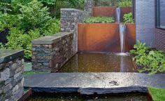 Cordon steel / water feature / slate