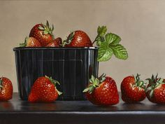 Johan De Fre, Strawberries, oil on panel, 8 x 12 ins (20 x 30 cms)