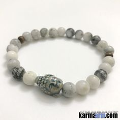 Yoga Bracelets Manifesting Meditation Tibetan Buddhist Beaded Mala Men & Women. #LOA Law of Attraction. Raku Buddha Jasper.