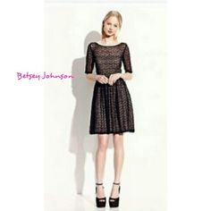 "VTG ⚡BETSEY JOHNSON⚡ BLACK LACE DRESS VINTAGE BETSEY JOHNSON LIKE NEW!! Black sheer Lace with hints of Lavender Threading thru out. V Neck & Back  w/Seams showing. I ripped out tag because everything shows! Can be worn over bathing suit or with a slip...or....nothing!?? Arm pit to arm pit.            19"" Length from V neck.         38"" It is very stretchy so it's adaptable                      Size Large Betsey Johnson Dresses Midi"