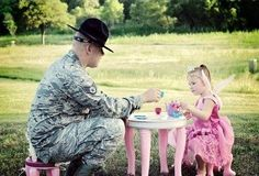Daddy and Tea Time. Military Style