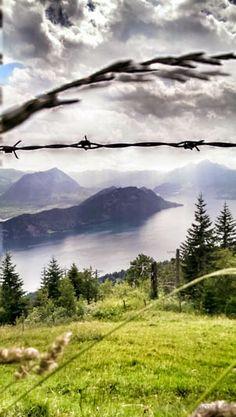 Panorama with Lake Lucerne and Bürgenstock, Switzerland