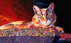 Sonata, Illustrious Cat, Cat Painting, Decorative Art, Stylized art ...