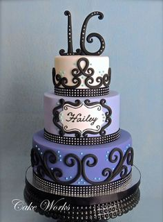 Love the scroll work. Replace number with periwinkle flower would be a perfect wedding cake.