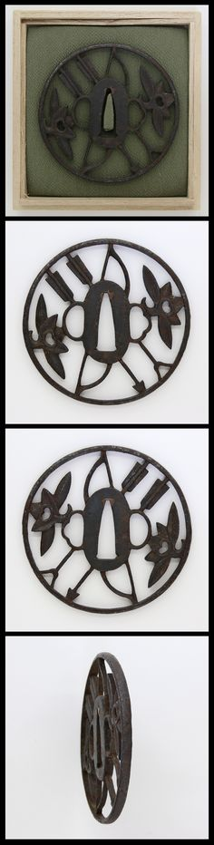 Edo Round shaped iron Tsuba. A bow, arrows and maple leaves are engraved with…