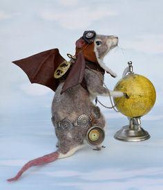 "Steampunk Rose Gray Rat ""Rats Rule"" OOAK Artist Needle felt Sculpture by Stevi T.    Free Shipping"