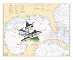 Steve Whitlock Nautical Chart Art - Gulf Slam