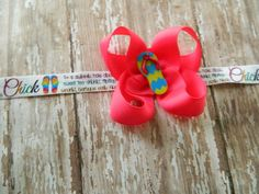 Pink Chick Flip Flop Twisted Boutique bow on Printed by MyDivaBaby, $6.00