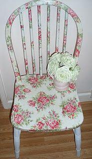 "Decoupaged chair from ""Scarlett Loves Elvis"" blogspot."