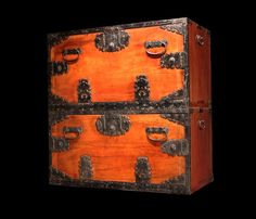 """Ships clothing chests from Sado Island. Hand forged iron hardware. Shunkei lacquered Keyaki (Zelkova) wood case and panel face with Kiri (Paulownia) wood interior drawers. Meiji Era. 16.25"""" deep x 32.5"""" wide x 33.5"""" tall ( top 17.25""""tall - bottom 16.25"""" tall)"""