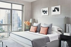 Contemporary Gray Bedroom with Silk Wallcoverings