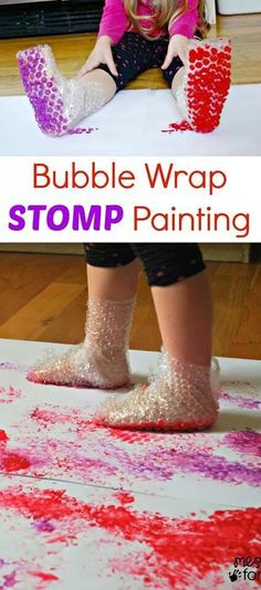 This is a fun way to paint, wearing bubble wrap boots. Let's do the Bubble Wrap Stomp!
